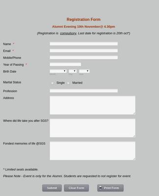 Alumni Registration Form