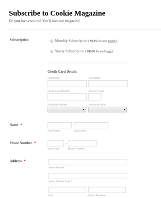Stripe Example: Magazine Request Form