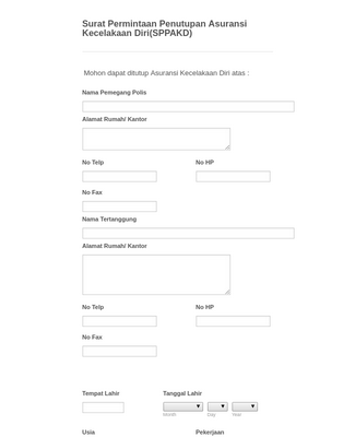 Indonesian Insurance Closer Request Form