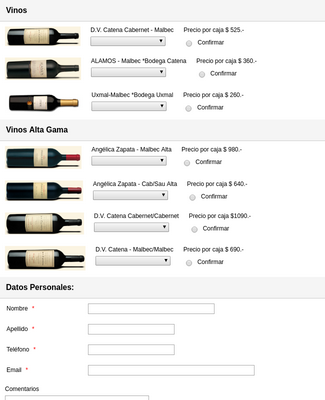 Spanish Wine Purchase Order Form