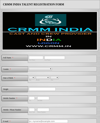 Talent Registration Formcrmm india