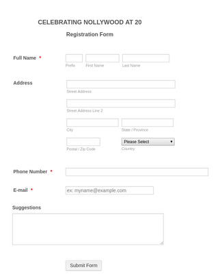 Film Academy Registration Form