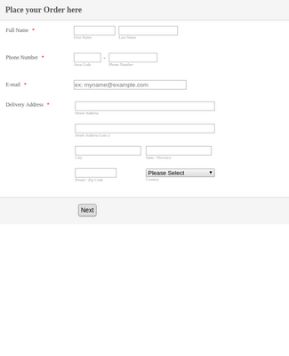 Order Form product detail