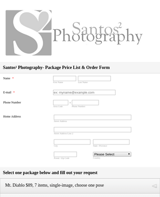 Photography Order Form Template Jotform