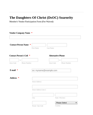 Vendors Participation Application Form