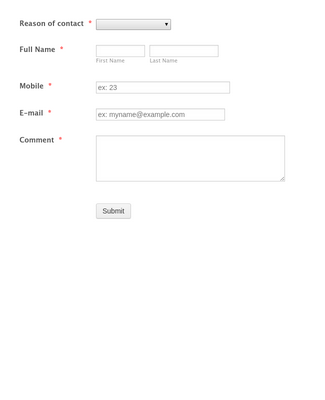 Contact Form for Ecommerce Sites