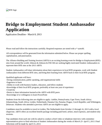 Student Ambassador Application Form