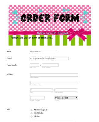 Women's Fashion Order Form