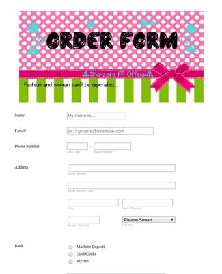Women's Fashion Order Form