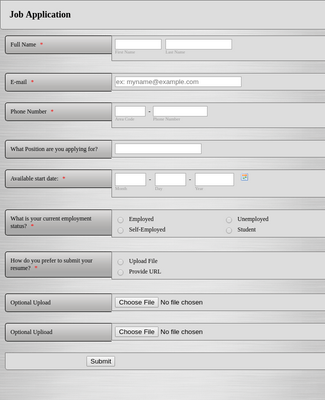 Quick and Easy Job Application Form