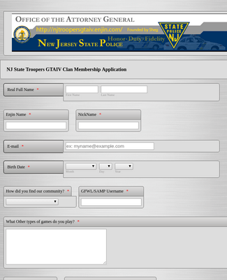 Police Department Application Form