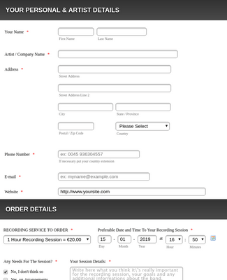 Recording Service Order Form