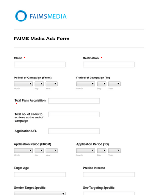 FAIMS Media Ads Form
