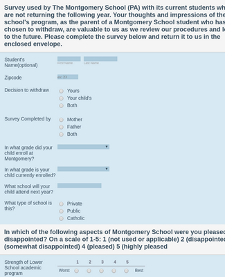 School Withdrawal Survey Form