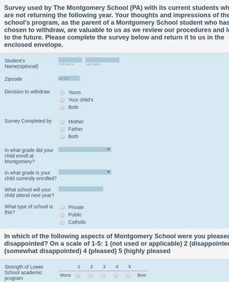 School Withdrawal Survey Form