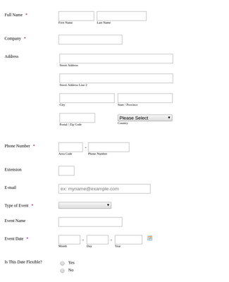 Hotel Meeting and Booking Request Form