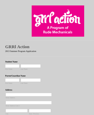 Summer Program Application Form