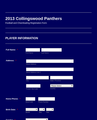 Football and Cheerleading Registration Form2013 collingswood panthers