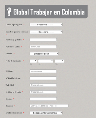 Global Trabajar en Colombia Application Form
