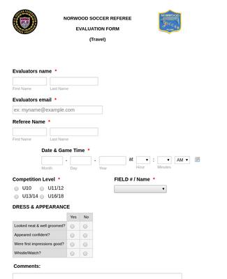 Referee Evaluation Form