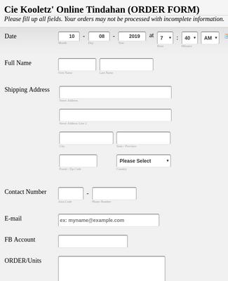 Online Store Order Form