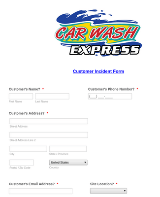 Customer Incident Form Customized