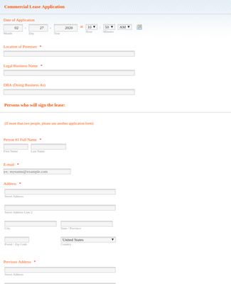 Online Commercial Lease Application