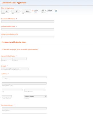 Online Lease Application