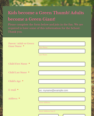 Green Thumb Signup Form
