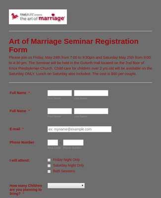 Art of Marriage Counseling and Registration Form