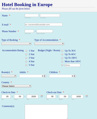 Hotel Booking Form 4
