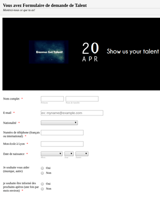 Got Talent Registration Form
