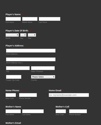 Kids Baseball Registration Form