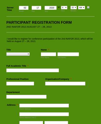 Seminar Registration Form