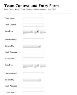 Team Contest Entry Form