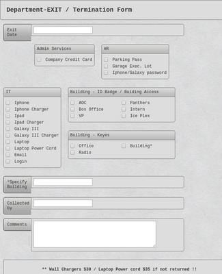 Department - EXIT / Termination Form