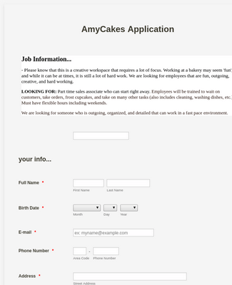 Baker Application