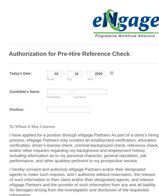 Reference Check Authorization