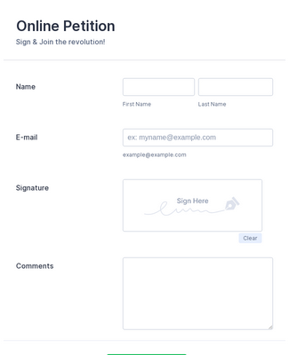 Online Petition Form with E-Signature