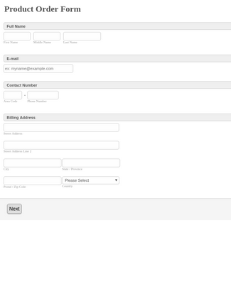 Generic Product Order Form