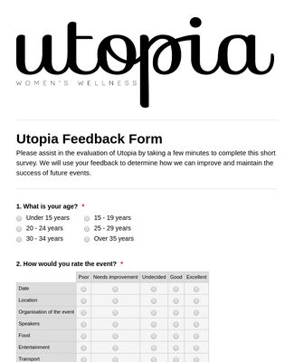 Utopia Survey.