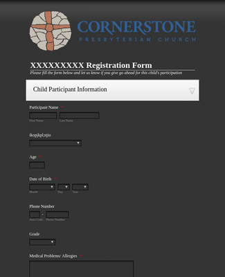 Template Registration Form - Cornerstone