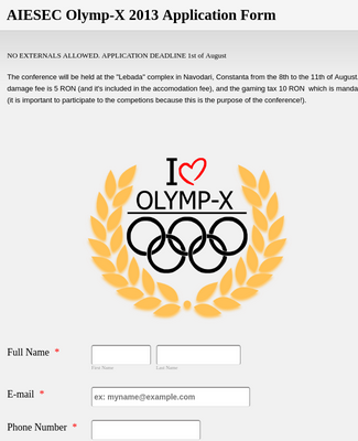 AIESEC Olymp-X 2013 Application Form