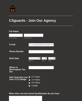 CSGuards Registration Form