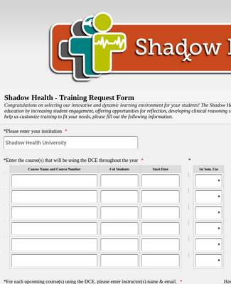 Shadow Health - Training Request Form (Summer 2014)