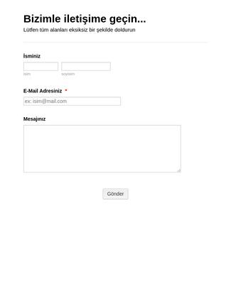 Türkçe Kargo Siparişi İletişim Formu