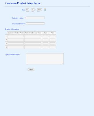 Product Setup Form
