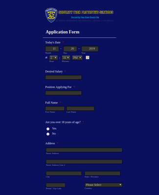 Security Employment Application Form