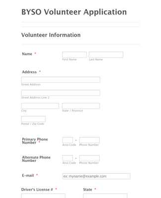 BYSO Volunteer Form