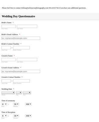 Wedding Day Questionnaire 2
